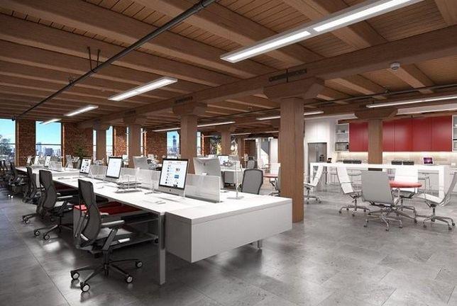 Interior of Mural Park, a new office development in Pilsen.