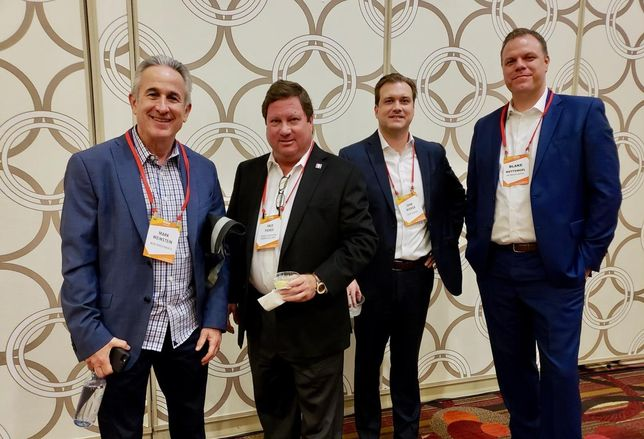 MJW Investments' Mark Weinstein, Pierce Education Properties' Fred Pierce, Core Spaces' John Wieker and NB Private Capital's Blake Wettengel at BASH Los Angeles 2018.
