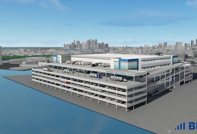 A rendering of Sunset Industrial Park, a four-story, 1.3M SF warehouse planned in Brooklyn