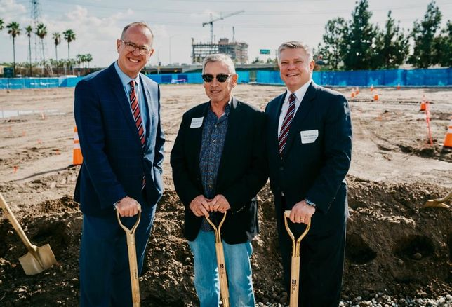 Former Anaheim Mayor Tom Tait, BPM Real Estate Group Walter C. Bowen and Radisson Hotel Group President, Americas Ken Greene at the groundbreaking of RadissonBlu in Anaheim