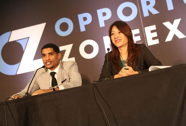 California State Treasurer Fiona Ma and Deputy Treasurer for Housing and Economic Development Jovan Agee speak at the Opportunity Zone Expo in Los Angeles