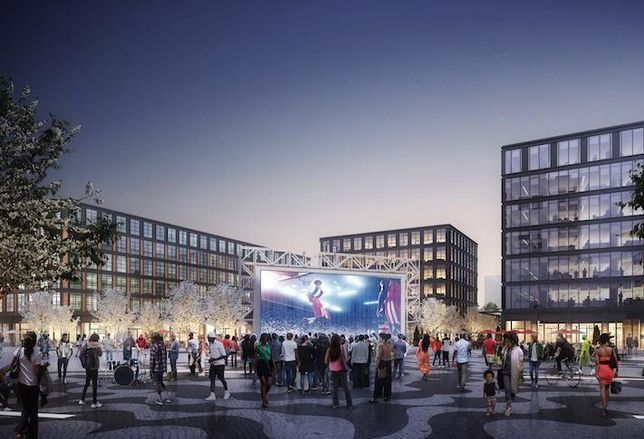 A rendering of the public plaza in the mixed-use town square Redbrick has planned for St. Elizabeths East