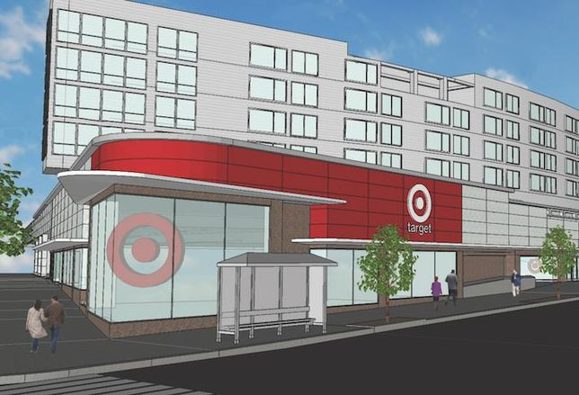 A rendering of Target's planned Tenleytown store at 4500 Wisconsin Ave. NW