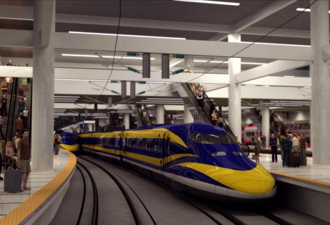 Rendering of California's bullet train