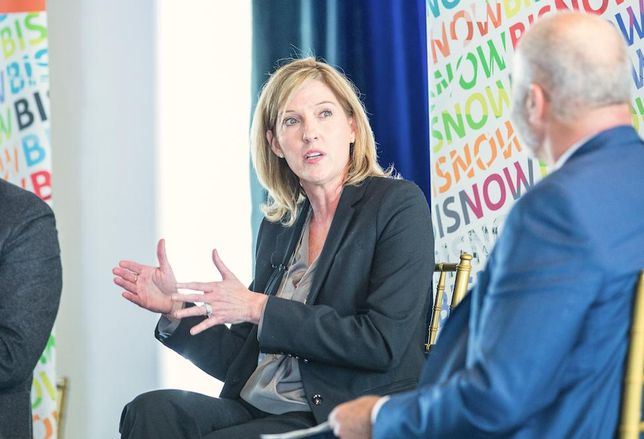 Amazon Head Of Worldwide Economic Development Holly Sullivan speaks at Bisnow's Amazon HQ2 event in Arlington, Virginia, Feb. 28, 2019.