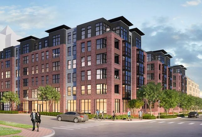 A rendering of Zom Living and Mitsui Fudosan's planned apartment project in Bethesda
