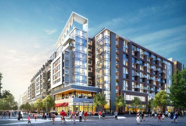 A rendering of the 127-unit eNvy condo building Jair Lynch is building near Nationals Park
