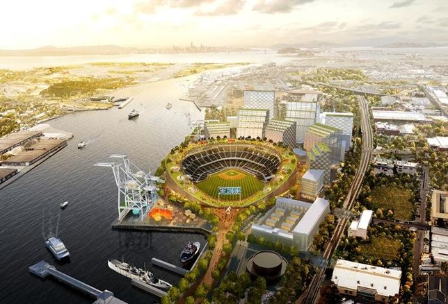 A revised rendering of the planned Oakland A's ballpark at Howard Terminal