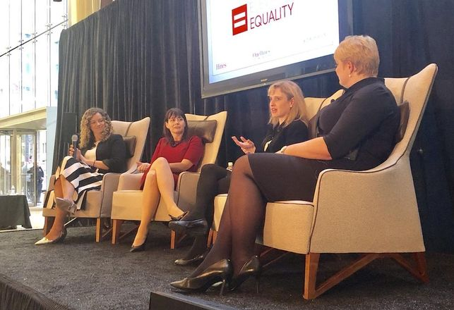 Hines Managing Director Laura Hines-Pierce, Piper Jaffray Chief Human Capital Officer Christine Esckilsen, Ernst Young People Advisory Services Leader Rachel Everaard and Kirkland & Ellis Senior Director Nina Dannenberg spoke at Elevating Equality hosted by Hines at 609 Main Street, Houston.