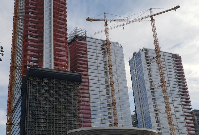 Construction on Oceanwide Plaza came to a halt after subcontractors filed a mechanic's lien against the owner