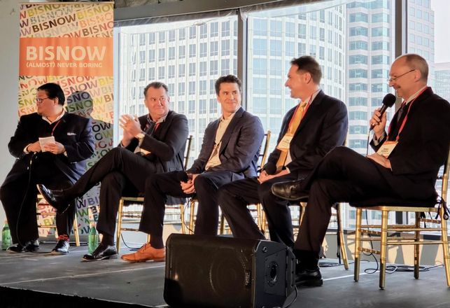 Los Angeles Dept. of Convention and Tourism Development's Doane Liu, Mack Real Estate Development's Paul Keller, Holland Partner Group's Tom Warren, AECOM Building Construction's Eric Schreiner and Clark Construction's Marc Kersey at Bisnow's Future of Downtown Los Angeles event at the Wedbush Center in downtown.