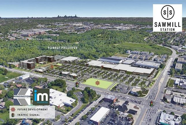 Kensington's Overview Rendering of New Sawmill Station in Morton Grove