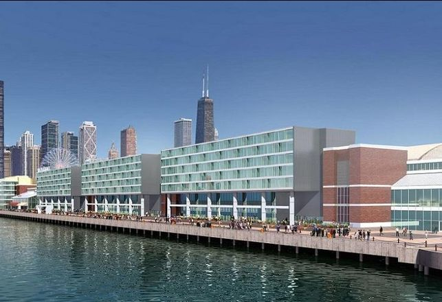 The seven-story, 222-room Curio Hotel on Chicago's Navy Pier, set to open in 2020.