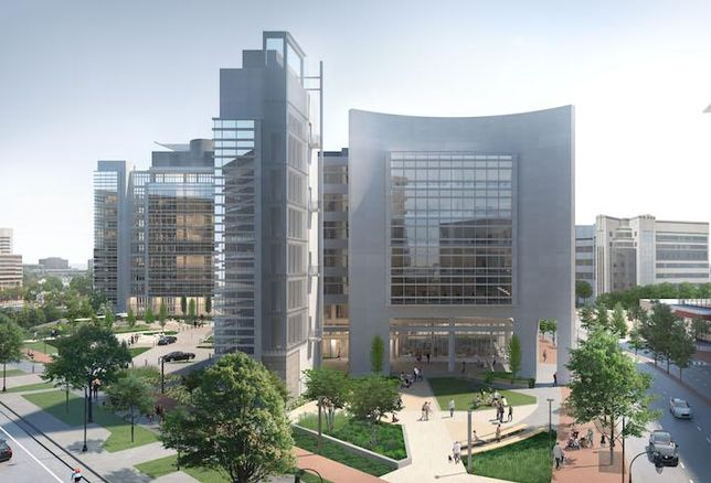 A rendering of Inventa Towers, the renovated former headquarters of Discovery Communications in Silver Spring