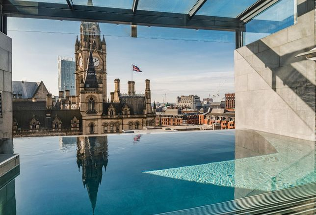 view from the 7th floor spa of King Street Townhouse Hotel, Manchester