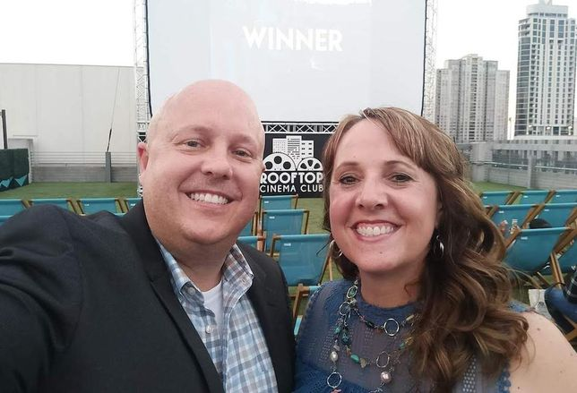 NAI Partners Executive Vice President Travis Rodgers struck the deal that brought Rooftop Cinema Club to the Galleria area. He is pictured with his wife, Jeannee.