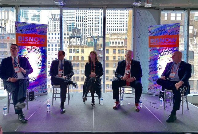 Hodges Ward Elliott's Daniel Parker, Meridian Capital's Morris Betesh, Compass's Vickey Barron, Community Preservation Corp.'s Richard Carr and Hornig Capital Partners' Daren Hornig speak at Bisnow's NYC Hottest Investment Opportunities event May 14, 2019.