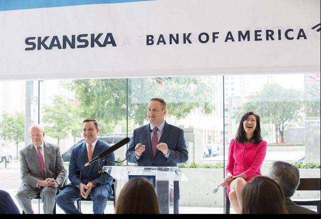 Skanska naming of Capitol Tower to the Bank of America tower. May 2019. Downtown Houston