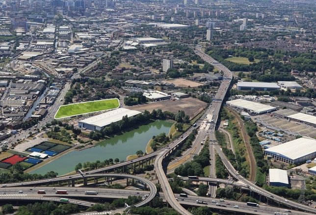 The Birmingham Advanced Manufacturing Hub, in green, next to the famous Spaghetti Junction