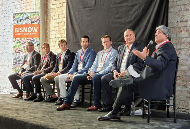 From L to R: Hackman Capital Partners' Ryan Smith, Meridian Capital's Seth Grossman, CBRE's Michael Longo, Cushman & Wakefield's Mike Condon, Paragon Commercial Group's Jim Dillavou, Avison Young's Jonathan Larsen and George Smith Partners Gary Tenzer at Bisnow's Los Angeles State of the Market at the Trust Building in downtown Los Angeles.