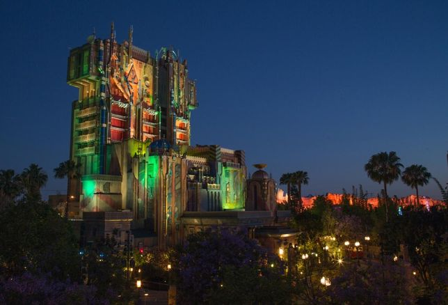 Guardians of the Galaxy-Mission: BREAKOUT! — The exterior of The Collector's Fortress shimmers as night falls at Disney California Adventure Park. The Guardians of the Galaxy–Mission: BREAKOUT!