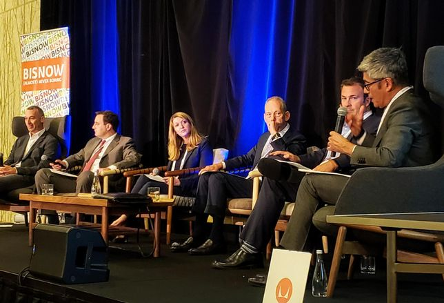 Pacific Medical Buildings' Jake Rohe, HFF's Evan Kovac, Trammell Crow Co.'s Nancy Moses, Seavest Healthcare Properties' Jonathan Winer, Meridian's John Pollock and Allen Matkins' Fernando Villa discuss healthcare and commercial real estate at Bisnow's National Healthcare West event June 20 at the JW Marriott in downtown Los Angeles.
