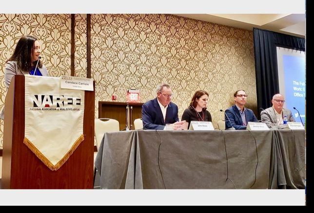 CoStar News' Candace Carlisle, Hines'  John Mooz, Gensler's Jennifer Mejia, Hana's Brian Harrington and Woodbine Development's Kris Harman at the Future of Office panel June 26 at the National Association of Real Estate Editors conference in Austin, TX.