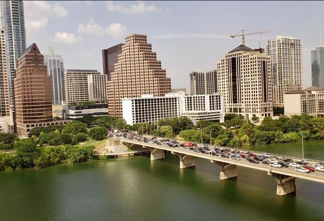 Commuters fill the bridge trying to get into downtown Austin.