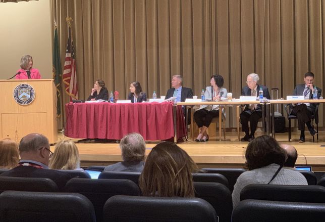 Javelin 19 President Jill Homan speaks to a panel of IRS and Department of Treasury officials at an opportunity zone hearing July 9, 2019.