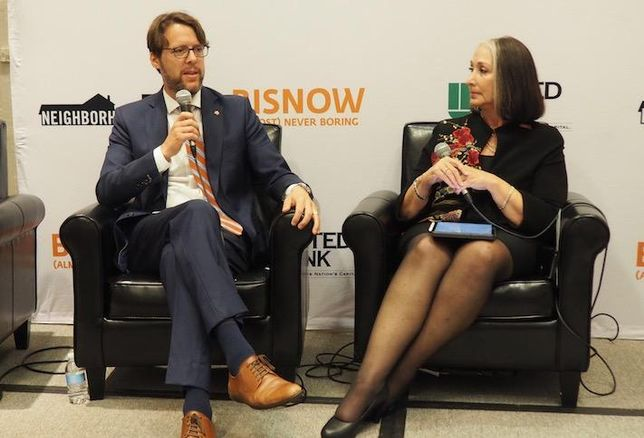 Montgomery County Council Member Hans Riemer and Chesapeake Public Strategies' Ellen Coren at Bisnow's Future of Bethesda and Beyond event