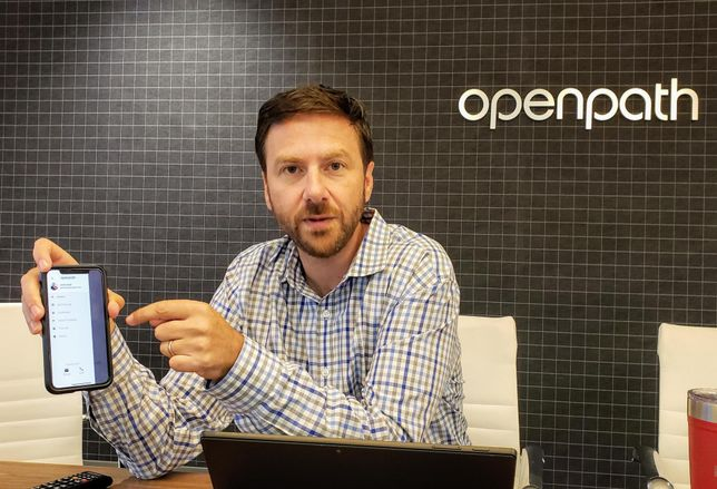 Openpath co-founder James Segil shows how using the Openpath mobile app could allow anyone access to a building.