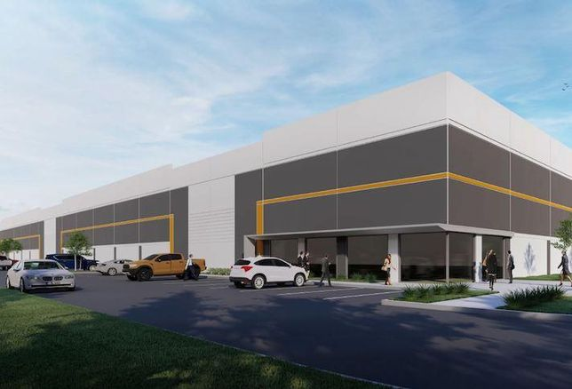 A rendering of the last-mile industrial project Normandy and Pinkard are planning at 716 Ritchie Road in Capitol Heights, Maryland