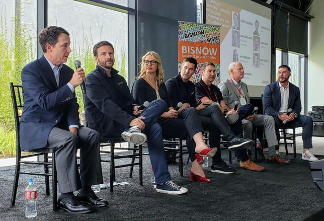 EY's Patrick Niemann, Openpath's James Segil, Woods Bagot's Katy Mercer, ZGF's James Woolum, T-Mobile's Luke Lucas, Brookfield Properties' John Barganski and Pivot Interiors' Edward Woodill discuss the office landscape at Bisnow's Future of Los Angeles Office at Tishman Speyer's 555 Aviation building in El Segundo.