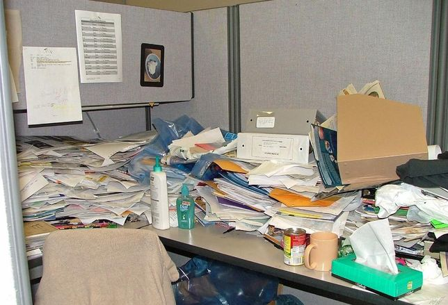 dirty untidy office