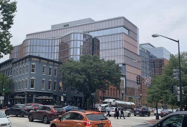 The 655 New York Ave. NW office project comprises a huge new office building and more than 70K SF of retail space.