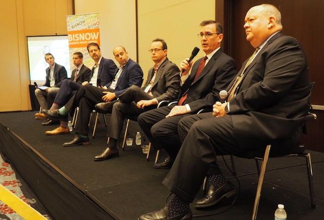 DPR's Christopher Hoffman, JBG Smith's Scott Franklin, Howard Hughes' Greg Fitchitt, Michael Graves' Matt Ligas, Foulger-Pratt's Michael Abrams, Skanska's Mark Carroll and Colonial Parking's Andrew Blair