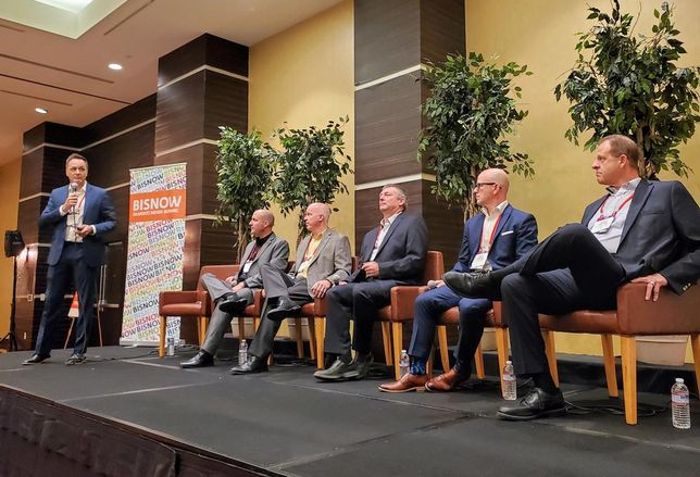 Fulcrum's Darren Seary, Fulcrum's Mitch Lund, Prefab Logic's Curtis Fletcher, ProSet's Matt Mitchell, STACK Modular's Andy Berube and Western Alliance Bank's Larry Dalton at Bisnow's Modular Construction Summit at the LA Grand Hotel Downtown in downtown Los Angeles.