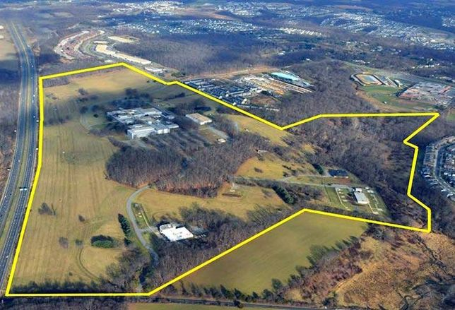 An aerial view of the 204-acre Comsat campus in Clarksburg