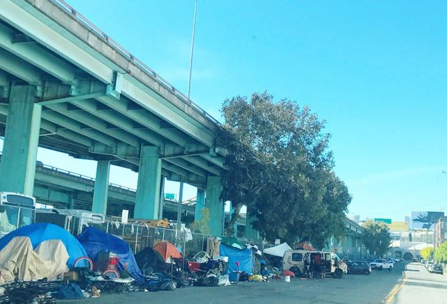 A homeless encampment in San Francisco.