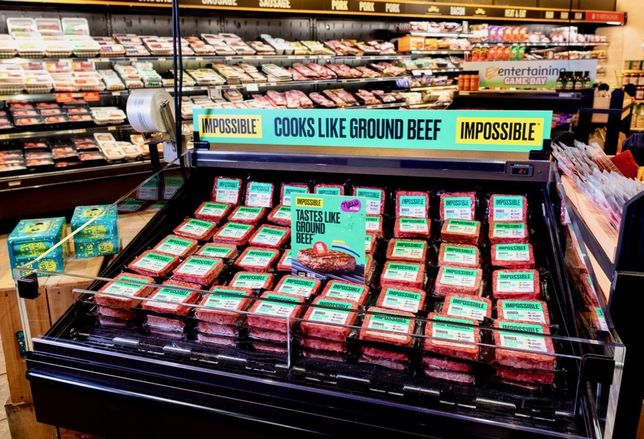 A display of Impossible Foods' plant-based meat at a grocery store.