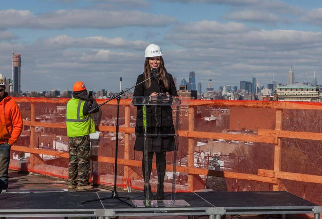 Rose Tilley, RXR Project Executive, speaking at 475 Clermont's Topping Out Ceremony