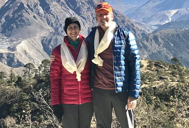 Jefferson Apartment Group CEO Jim Butz with his wife, Cynthia, at Mount Everest