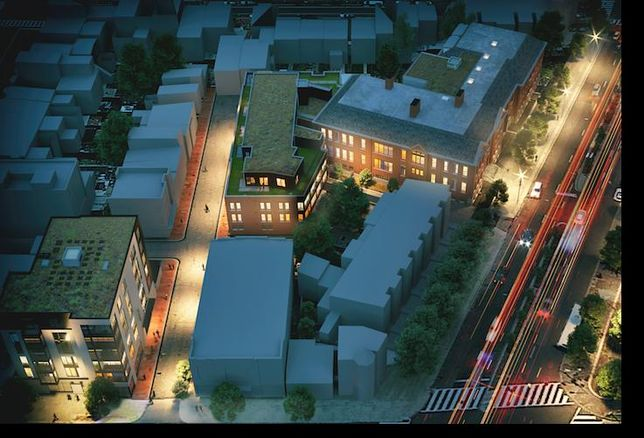 An aerial rendering of the Grimke School redevelopment