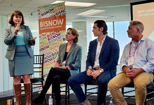 Culver City Mayor Meghan Sahli-Wells, Rottet Studio's Patricia McCaul, Grifka Group's Leo Grifka and RM/d's Rick Moses discuss Culver City's charm during a panel at Bisnow's State of the Market event at the 400/600 Culver Pointe in Culver City. Not pictured were Walter N. Marks' Wally Marks and Corgan's Sean Kim.