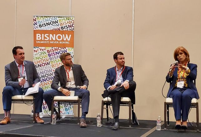 Berkadia's Jackson Cloak, Walker & Dunlop's Mark Grace, Bellwether Enterprise's Jason Krupoff and Umpqua Bank Karine Clark discuss the state of Orange County's multifamily industry at Bisnow's at Bisnow's Orange County Multifamily Summit Nov. 21 at the Hilton Anaheim.