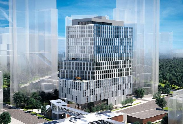 A rendering of Foulger-Pratt's 25-story Tysons Central office development