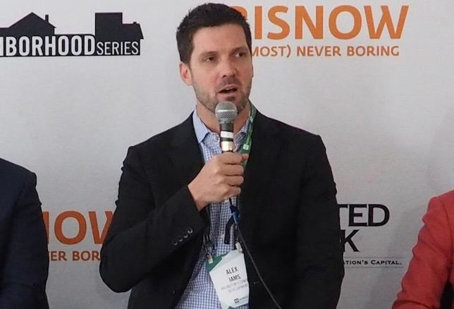 Fairfax County Economic Development Authority's Alex Iams at a 2019 Bisnow event