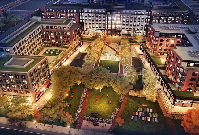 An aerial rendering of the Parks at Walter Reed development