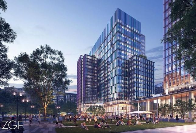 A rendering of the new Amazon HQ2 buildings at the Metropolitan Park site in Pentagon City