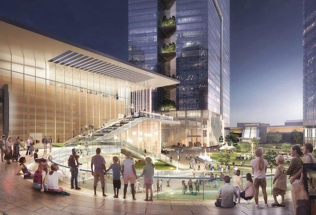 A rendering of the central plaza at Clemente's View at Tysons development